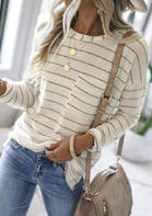 Striped Pocket O-Neck Long Sleeve Blouse