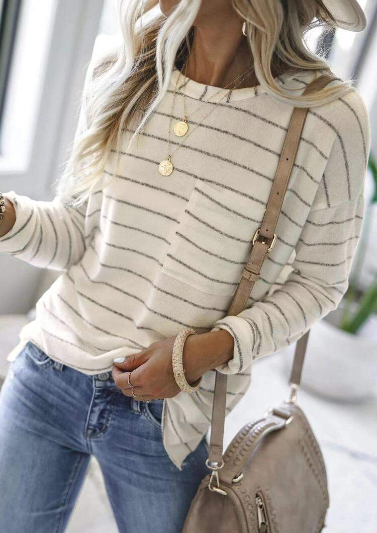 Striped Pocket O-Neck Long Sleeve Blouse - Beige