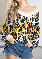 Leopard Splicing V-Neck Long Sleeve Blouse $18.59 $21.89