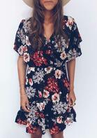 Floral Ruffled V-Neck Wrap Elastic Waist Mini Dress