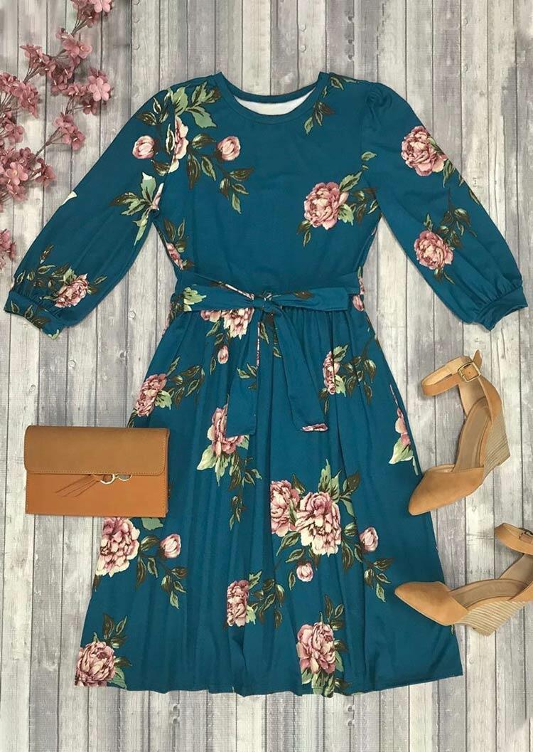 Floral Ruffled O-Neck Elastic Cuff Casual Dress - Cyan