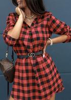 Buffalo Plaid V-Neck Asymmetric Mini Dress without Belt