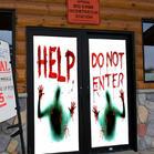 2Pcs Halloween Sticker Do Not Enter Giant Bloody Window Poster