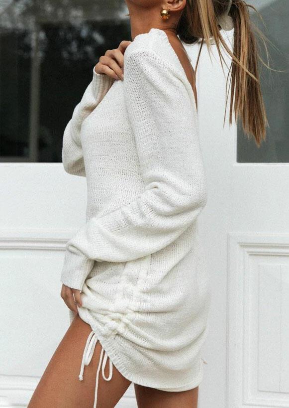 Open Back Drawstring Ruffled Knitted Mini Dress - White
