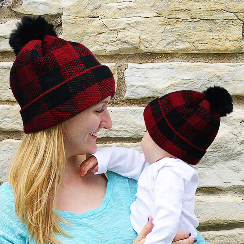 Christmas Buffalo Plaid Winter Warm Knitted Hairball Hat