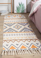 Tassel Geometric Splicing Ethnic Woven Carpet