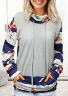 Floral Striped Splicing Drawstring Kangaroo Pocket Sweatshirt