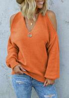 Cold Shoulder Cross Open Back Sweater - Orange