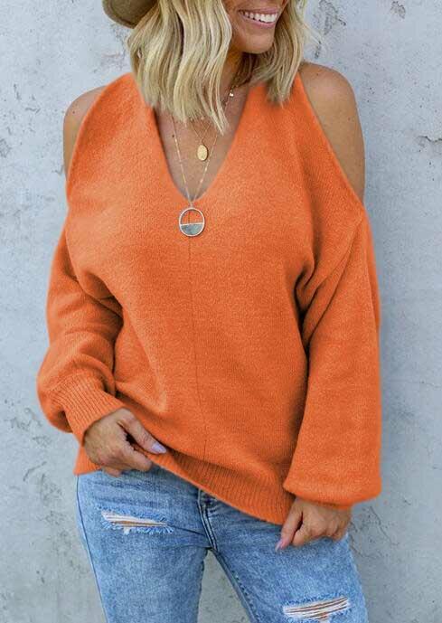 Cold Shoulder Cross Open Back Sweater - Orange