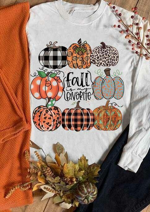 Fairyseason coupon: Fall Plaid Leopard Polka Dot Pumpkin Sweatshirt - White