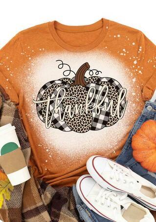 Thanksgiving Leopard Plaid Pumpkin Bleached Thankful T-Shirt Tee - Orange