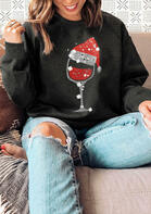 Christmas Hat Wine Glass Pullover Sweatshirt