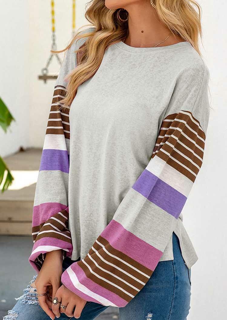 Colorful Striped Slit ElasticCuff Blouse - Light Grey