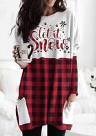 Buffalo Plaid Splicing Pocket Let It Snow Paw Mini Dress