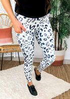 Leopard Pocket Skinny Elastic Waist Pants