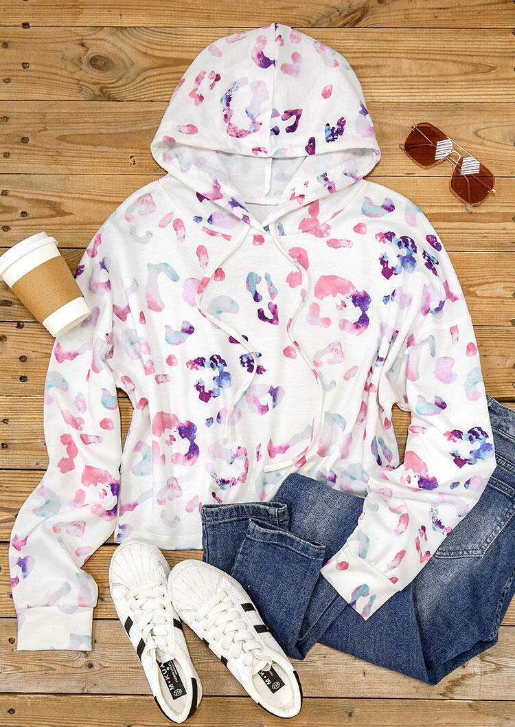 Colorful Leopard Drawstring Pullover Hoodie