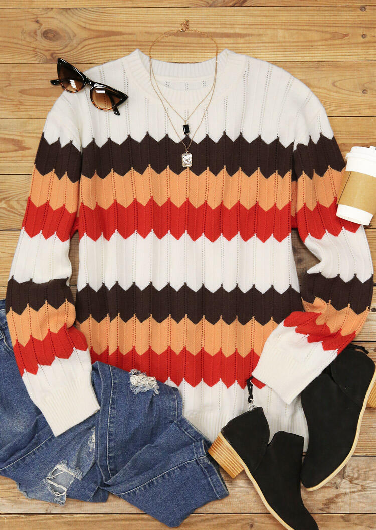 Colorful Wavy Striped O-Neck Casual Sweater