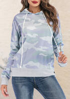 Camouflage Zipper Pocket Drawstring Pullover Hoodie