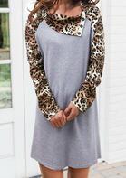 Leopard Splicing Asymmetric Button Collar Mini Dress