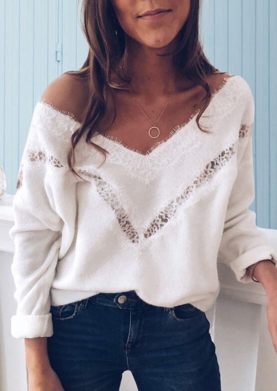 Lace Splicing Drop-Shoulder V-Neck Casual Sweater - White