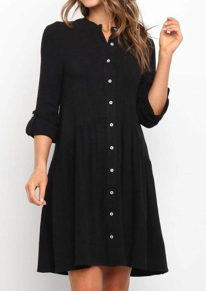 Button Tab-Sleeve O-Neck Mini Dress - Black