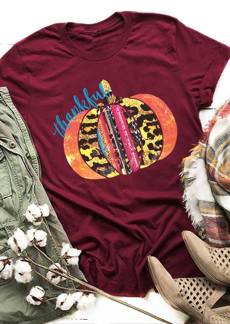 Fairyseason coupon: Thanksgiving Thankful Leopard Pumpkin T-Shirt Tee - Burgundy