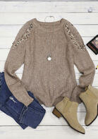 Beading Cold Shoulder Long Sleeve Sweater