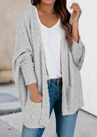 Pocket Batwing Sleeve Fleece Cardigan - Gray