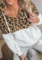 Leopard Drawstring Zipper Collar Pocket Hoodie