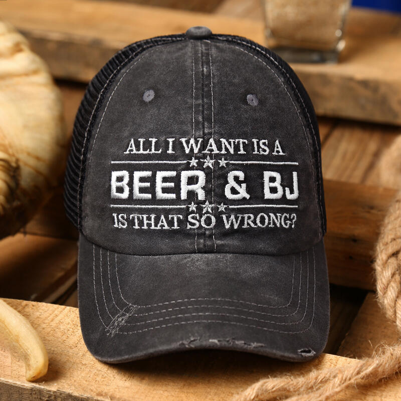 Fairyseason coupon: Beer & BJ Letter Mesh Splicing Baseball Cap