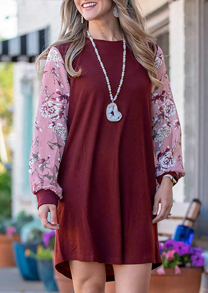 Fairyseason coupon: Floral Splicing Long Sleeve O-Neck Mini Dress - Burgundy