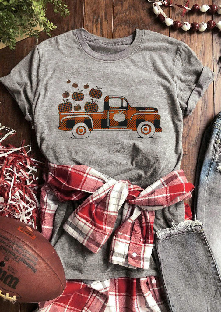 Plaid Truck Pumpkin T-Shirt Tee - Gray