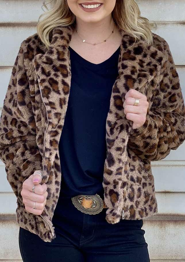 Fairyseason coupon: Leopard Pocket Zipper Fleece Coat