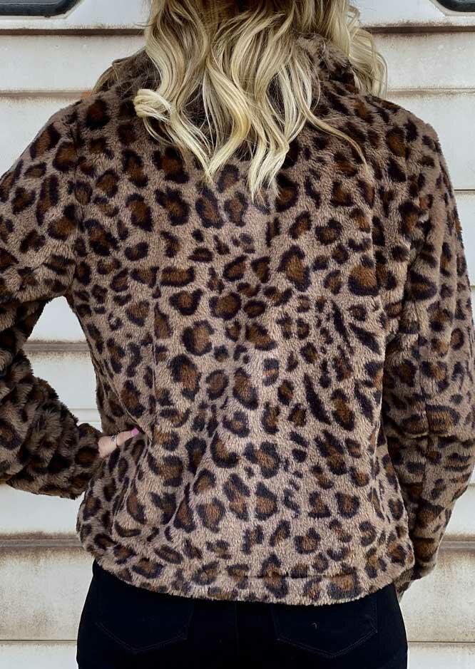 Leopard Pocket Zipper Fleece Coat