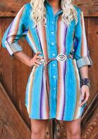 Colorful Striped Button Shirt Mini Dress without Belt