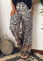 Vintage Leopard Geometric Splicing Wide Leg Pants