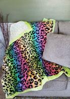 Gradient Rainbow Leopard Soft Warm Blanket