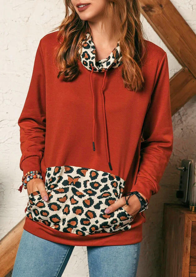 Leopard Splicing Drawstring Kangaroo Pocket Sweatshirt - Brick Red