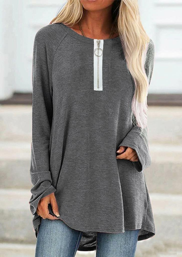 Asymmetric Zipper Raglan Sleeve O-Neck Casual Blouse - Gray