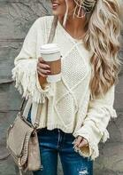 Tassel Knitted Long Sleeve Loose Pullover Sweater