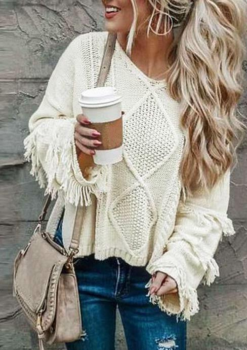 Tassel Knitted Long Sleeve Loose Pullover Sweater - Beige