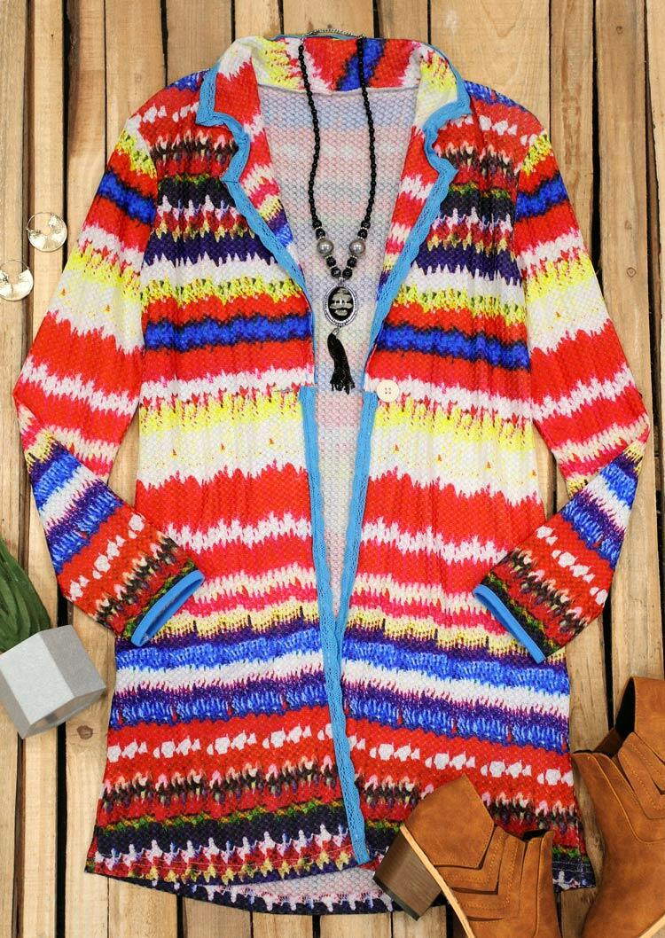 Colorful Striped Button Long Sleeve Knitted Cardigan