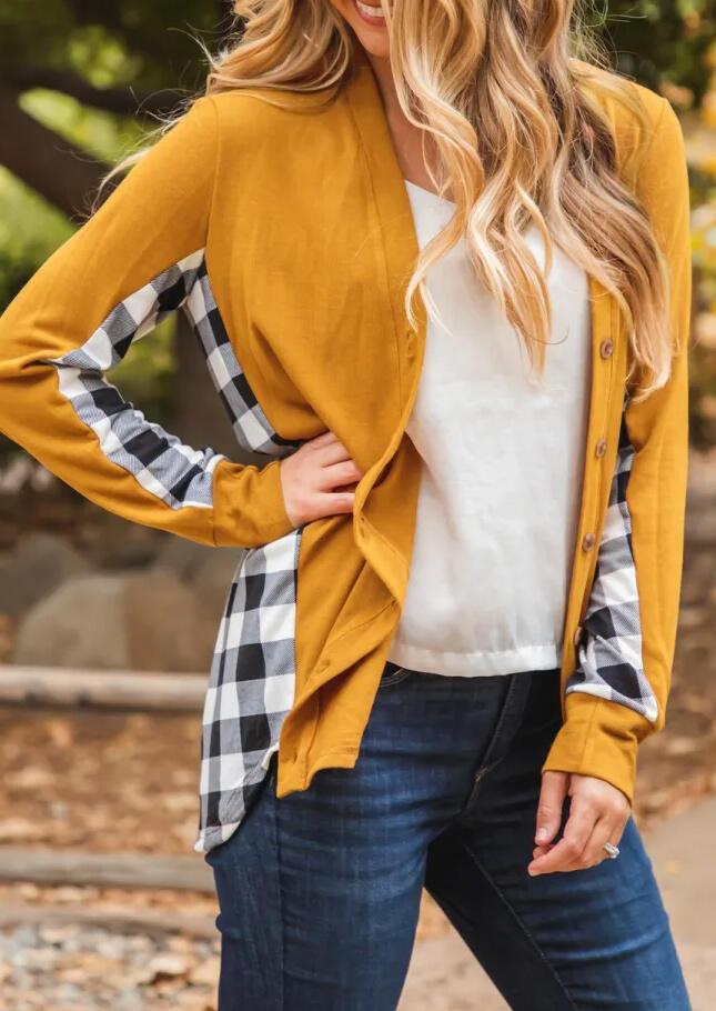 Plaid Splicing Button Asymmetric Long Sleeve Cardigan - Yellow
