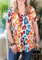Colorful Leopard Short Sleeve Blouse