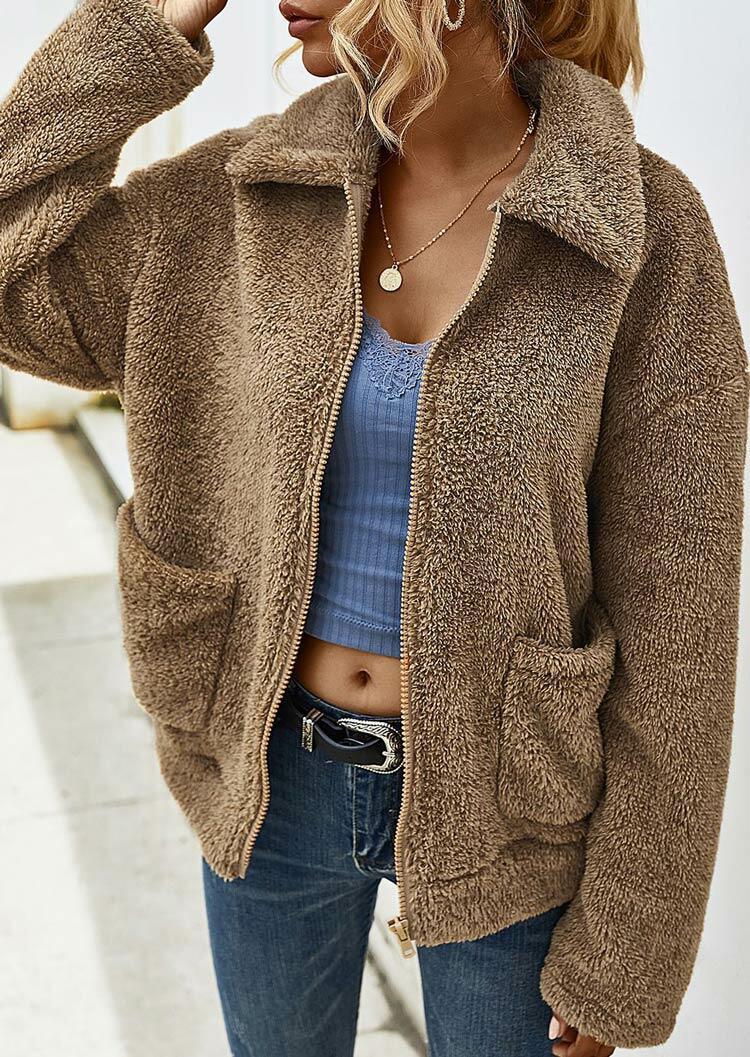 Pocket Zipper Drop Shoulder Fleece Coat - Khaki