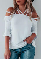 Hollow Out Cold Shoulder Ruffled Blouse