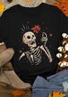 Skeleton Maple Leaf Autumn T-Shirt