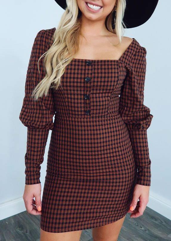 Fairyseason coupon: Plaid Button Square Collar Long Sleeve Mini Dress