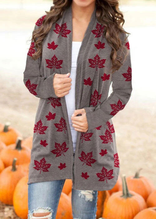 Thanksgiving Maple Leaf Long Sleeve Casual Cardigan - Coffee