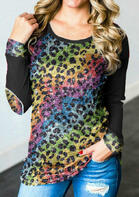 Colorful Leopard Splicing Long Sleeve Blouse